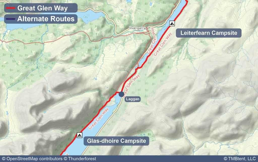 Map of Stage 3 from Glas-dhoire to Leiterfearn