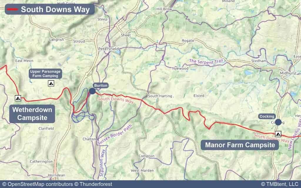 Map of Stage 3 from Wetherdown Lodge & Campsite to Manor Farm