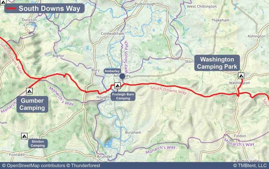 Map of Stage 5 from Gumber Campsite to Washington Camping