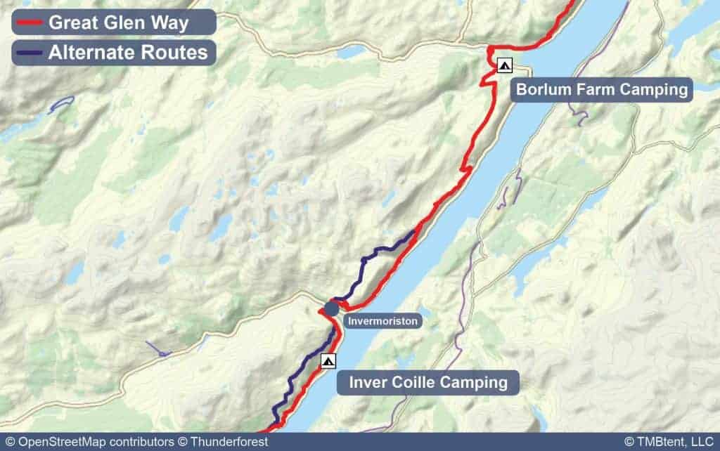 Map of Stage 5 from Inver Coille to Borlum Farm Camping