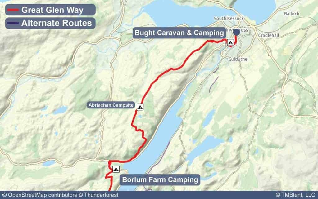 Map of Stage 6 from Borlum Farm to Inverness