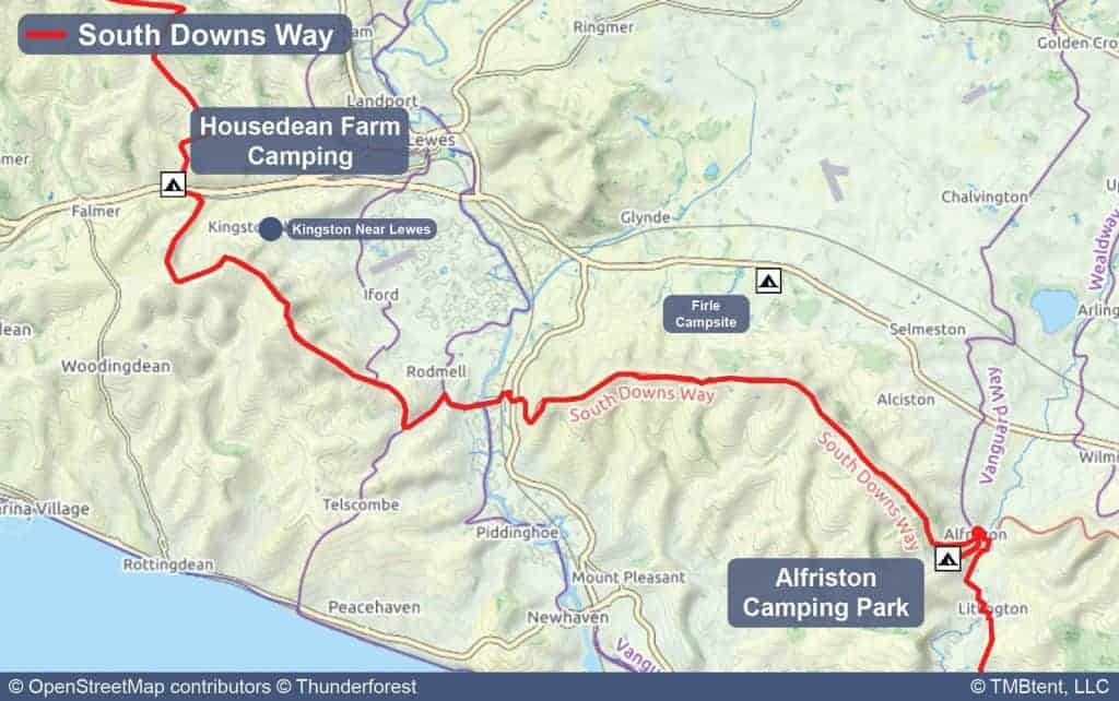 Map of Stage 8 from Housedean Farm Camping to Alfriston Camping Park