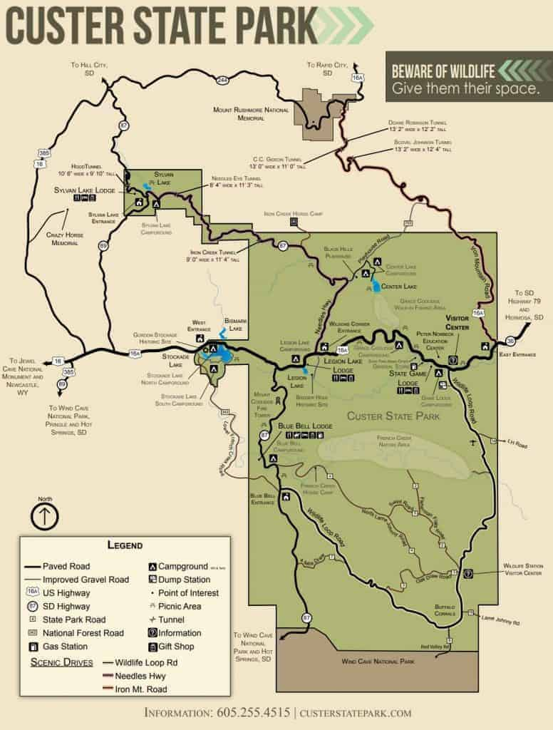 Map of campgrounds in Custer State Park