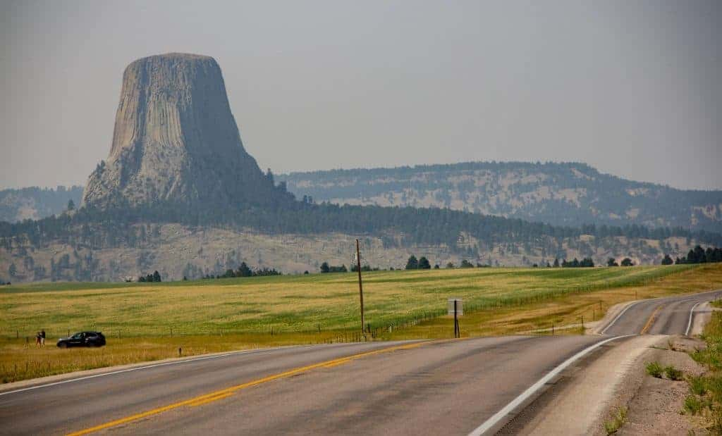 Road next to Devils Tower