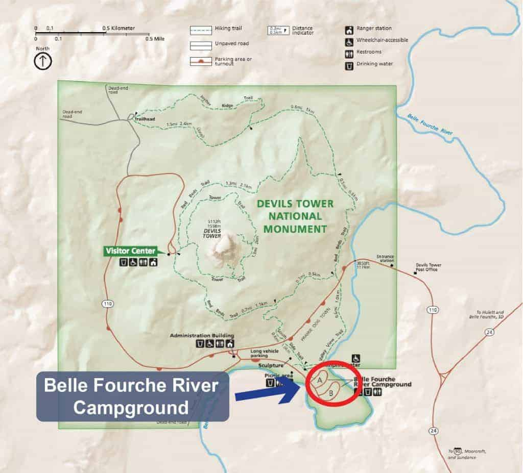 Map of the campground in Devils Tower National Monument