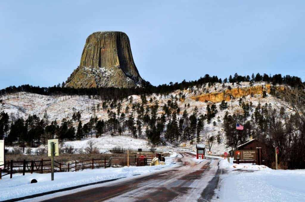 Snow on Devils Tower