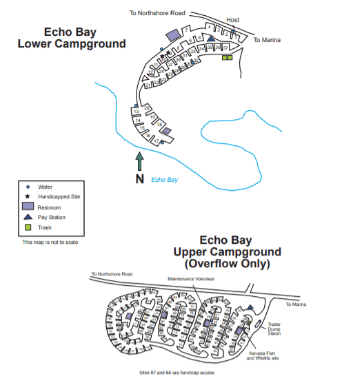 Map of the Echo Bay Campground, Lake Mead