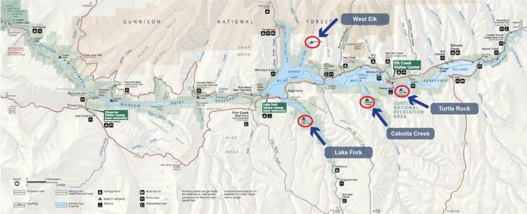 Map of boat to campsites at Blue Mesa Reservoir