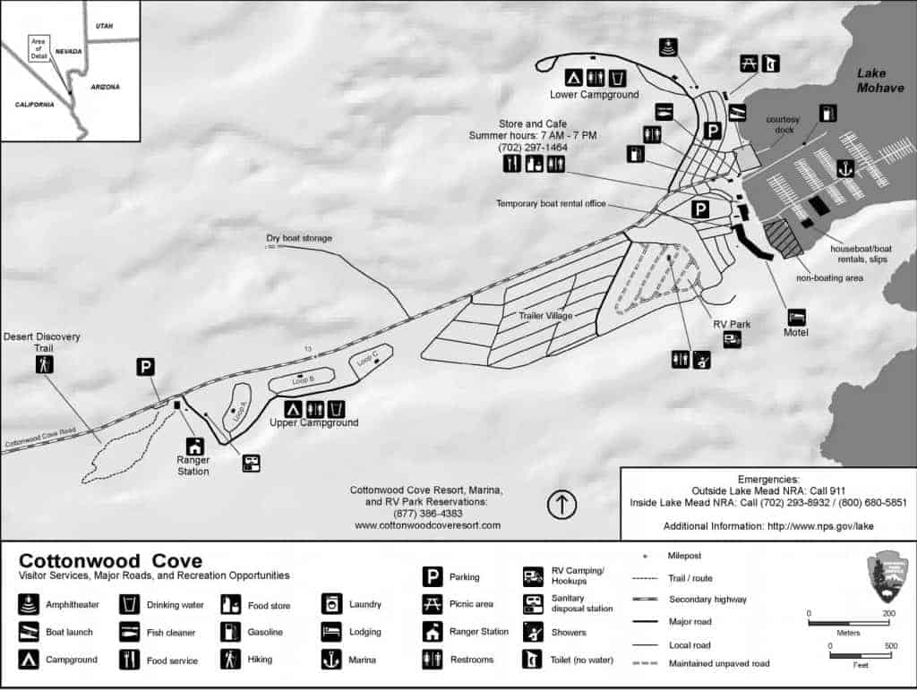 Map of Cottonwood Cove Campground, Lake Mohave