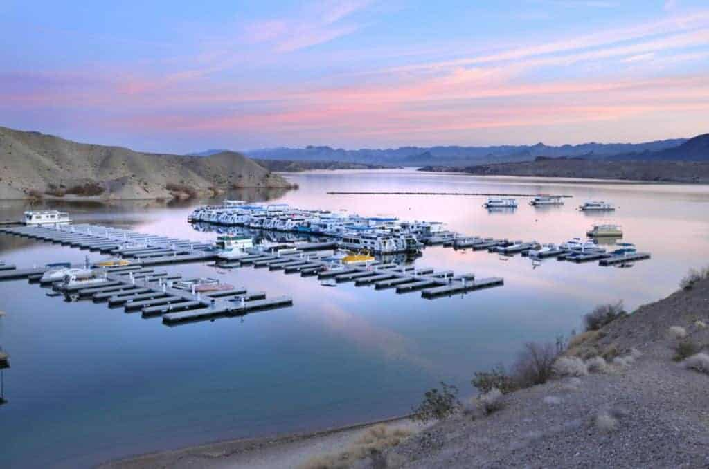 Sunset over Cottonwood Cove, Lake Mead