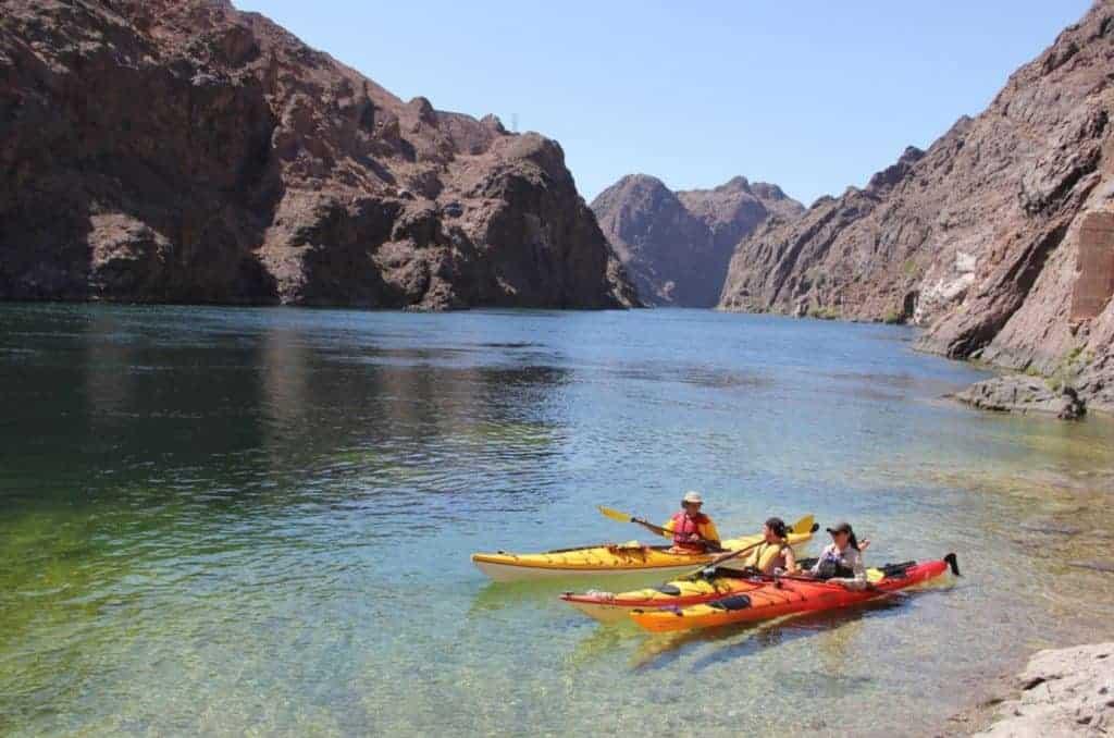 Kayakers enjoying the Black Canyon Water Trail, Lake Mead.
