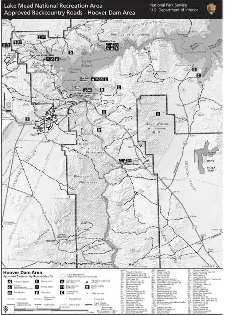 Lake Mead dispersed camping Hoover Dam area map