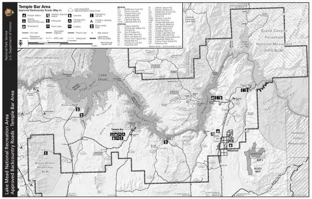Map of dispersed camping areas in Temple Bar area of Lake Mead