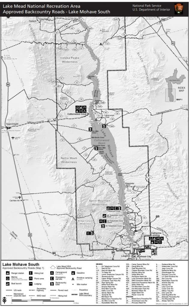 Map of Lake Mohave dispersed camping areas.