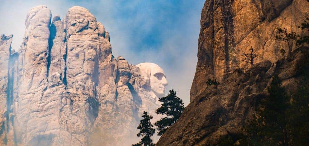 Mt. Rushmore through clouds