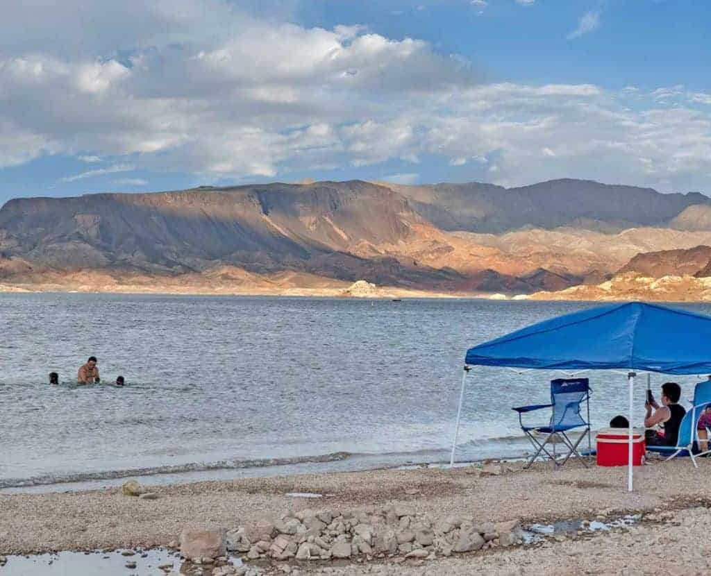 Swimmers on Boulder Beach at Lake Mead