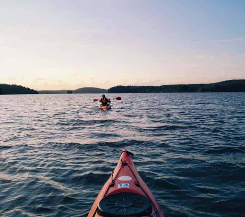 Two Kayaks in the sunset at Carter Lake, Colorado