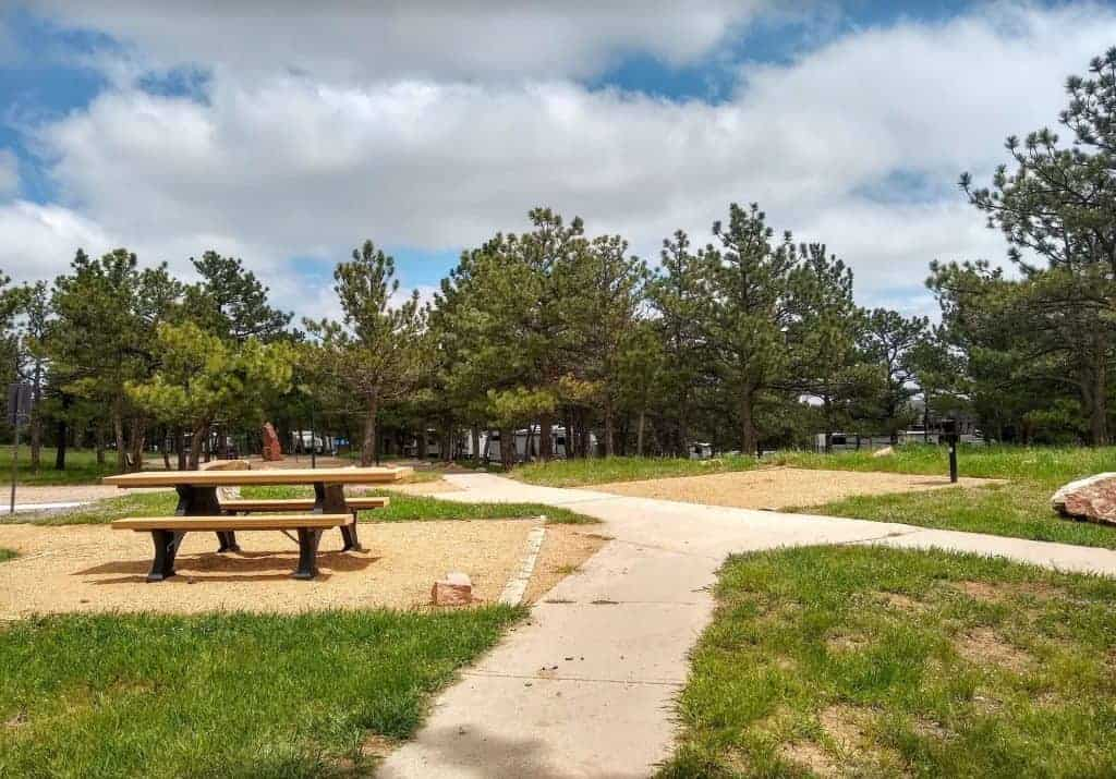 A picnic table and a campsite at the Eagle Campground, Carter Lake