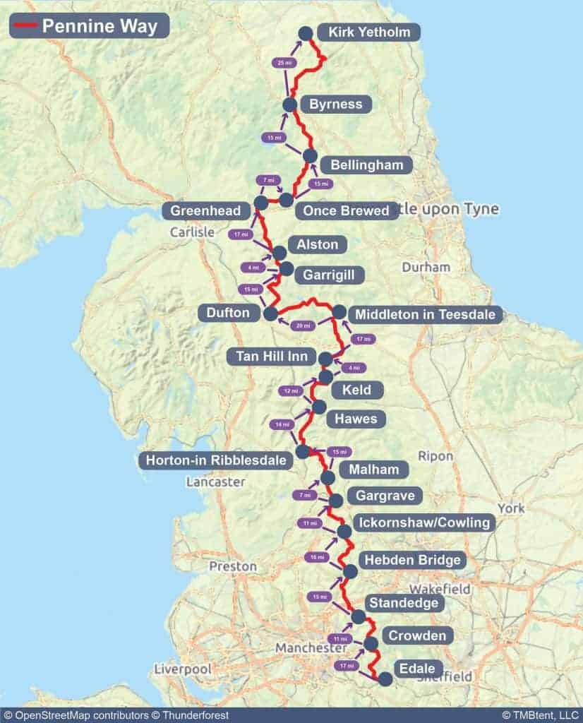 Map of the Pennine Way with distances