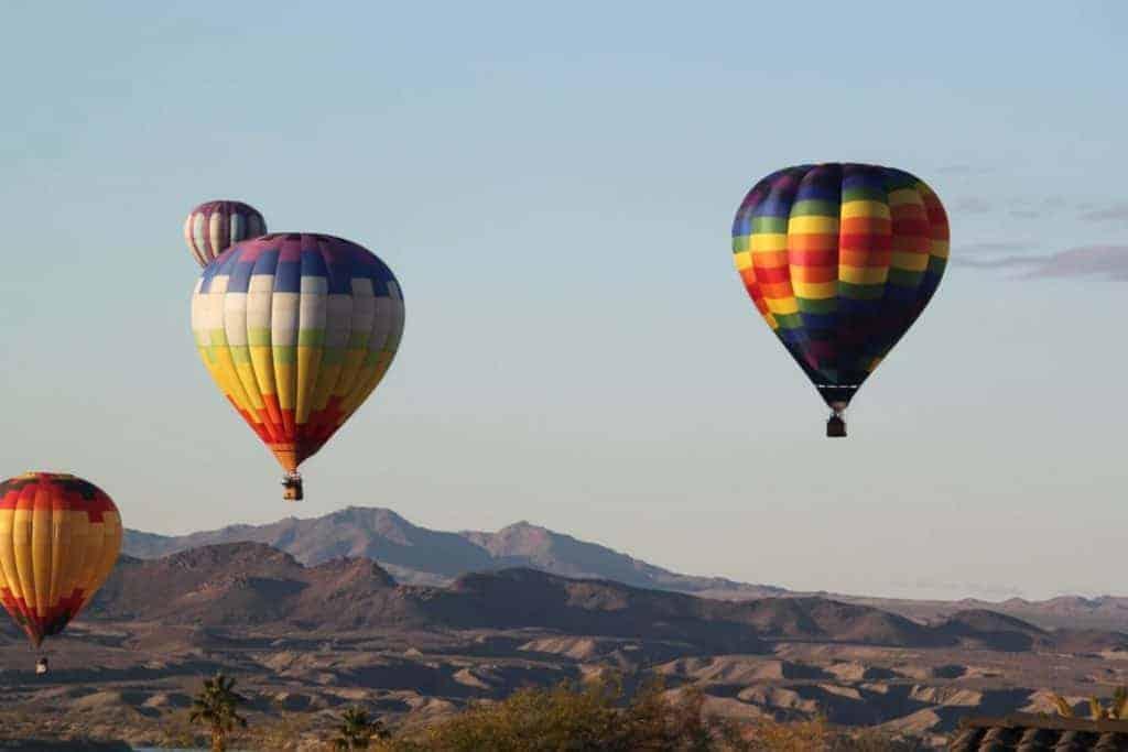 Hot air balloons over the desert near Lake Havasu