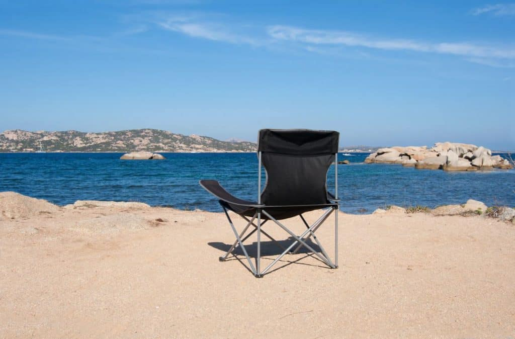 Camp chair on the beach at Lake Havasu