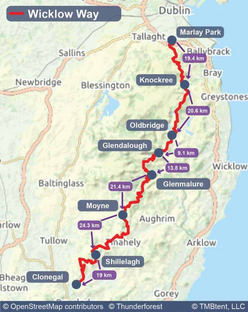 Wicklow Way map with stage distances