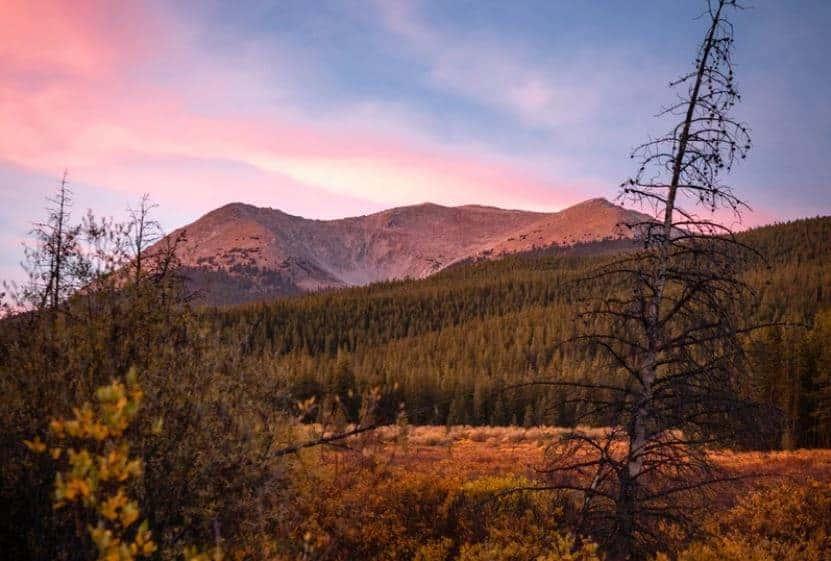 Mountains in the sunset near Buena Vista Colorado