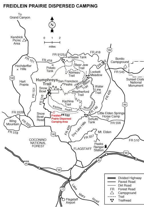 Map of Freidlein Prairie dispersed camping near Flagstaff