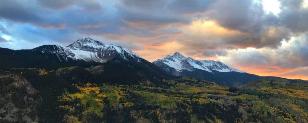 Sunset over snowy mt. Wilson, dispersed camping near Telluride