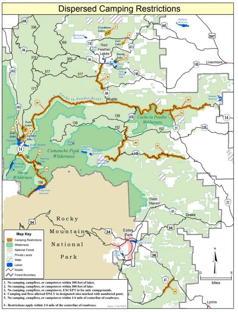 Map of dispersed camping near Fort Collins