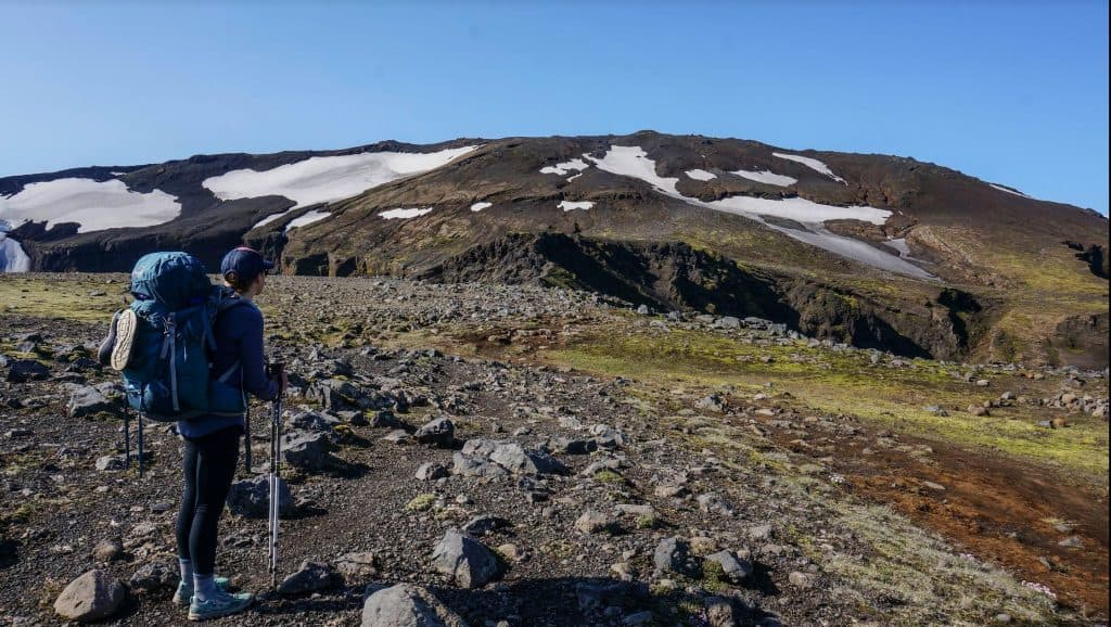 Hiker with backpack on the Laugavegur Trail.