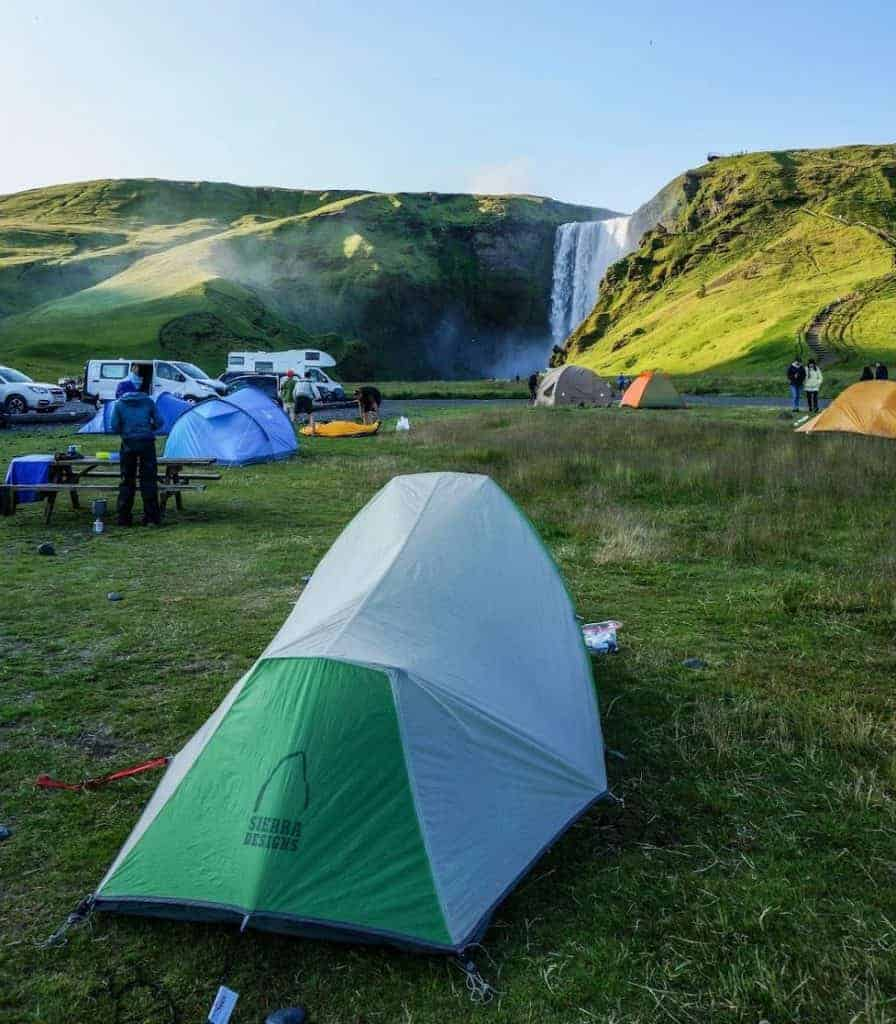 Camping with views of the waterfall at Skogar.