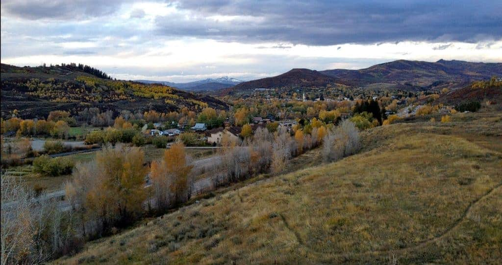 View of Steamboat Springs, CO in the fall.